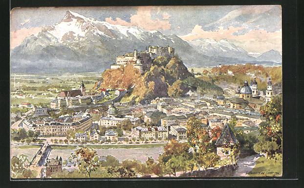 Künstler-AK Edward Harrison Compton: Salzburg, Panorama gegen den Untersberg