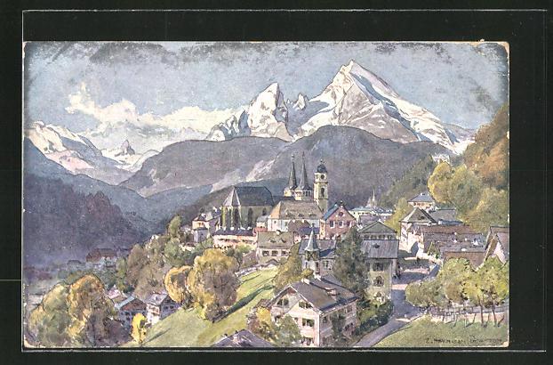 Künstler-AK Edward Harrison Compton: Berchtesgaden, Panorama