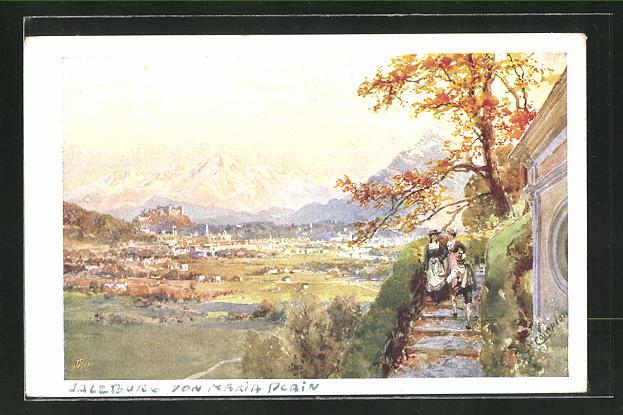 Künstler-AK Edward Theodore Compton: Salzburg, Gesamtansicht von Maria Plain