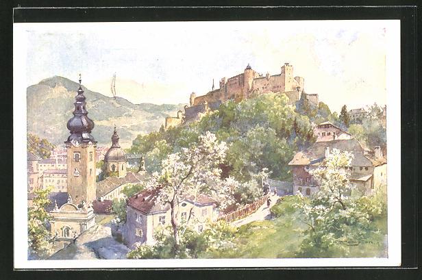 Künstler-AK Edward Theodore Compton: Salzburg, Panorama vom Mönchsberg