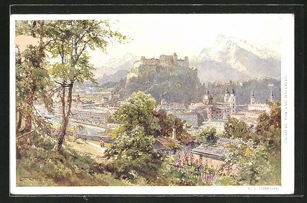 Künstler-AK Edward Theodore Compton: Salzburg, Gesamtansicht vom Kapuzinerberg
