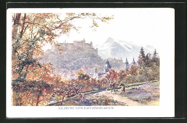 Künstler-AK Edward Theodore Compton: Salzburg, Totalansicht vom Kapuzinergarten