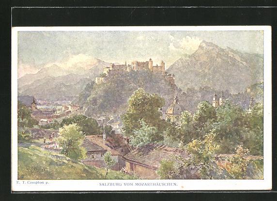 Künstler-AK Edward Theodore Compton: Salzburg, Panorama vom Mozarthäuschen