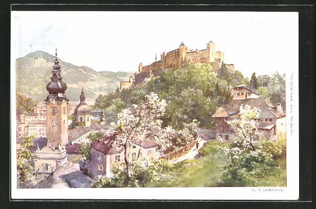 Künstler-AK Edward Theodore Compton: Salzburg, Gesamtansicht vom Mönchsberg