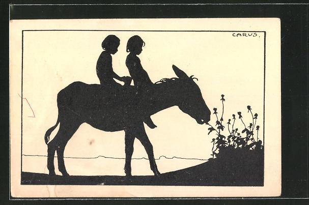 Künstler-AK Carus: Kinder auf einem Esel, Schattenbild