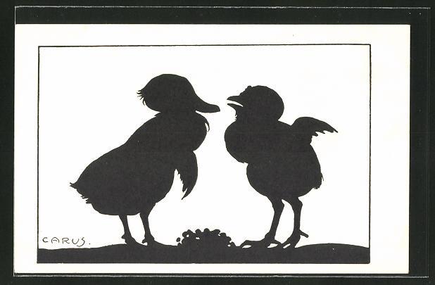 Künstler-AK Carus: Zwei Küken im Gespräch, Schattenbild