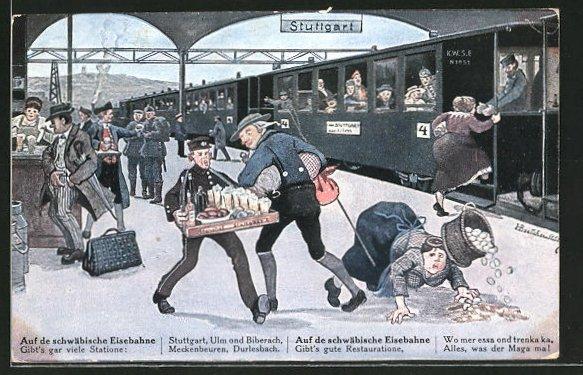 Künstler-AK Hans Boettcher: Auf de schwäbische Eisebahne!, Bild 1