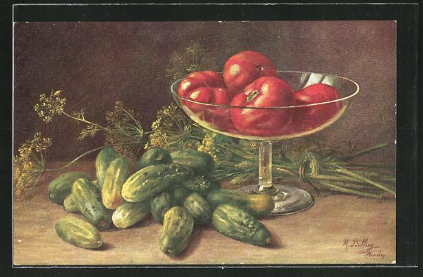 Künstler-AK M. Billing: Stilleben mit Gurken und Tomaten