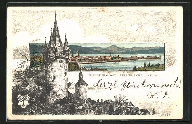 Künstler-AK Carl Biese: Lindau, Diebsturm mit Peterskirche