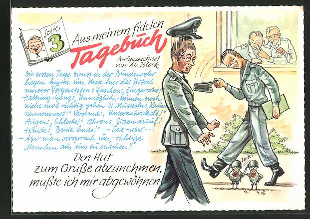 AK Aus meinem fidelen Tagebuch, Soldat zieht seine Mütze, Bundeswehr