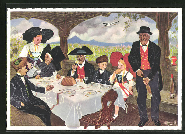 Künstler-AK Charles Homualk: Le repas alsacien, Sur la table, au dessert, on apporte le Kugelhopf