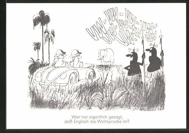 AK Wer hat eigentlich gesagt, das Englisch die Weltsprache ist?, Männer auf Safari in einem VW-Auto