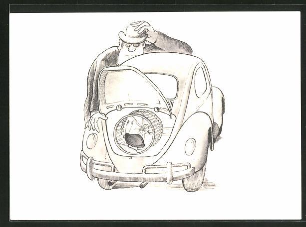 AK Mann betrachtet seinen Käfer-Motor, Auto