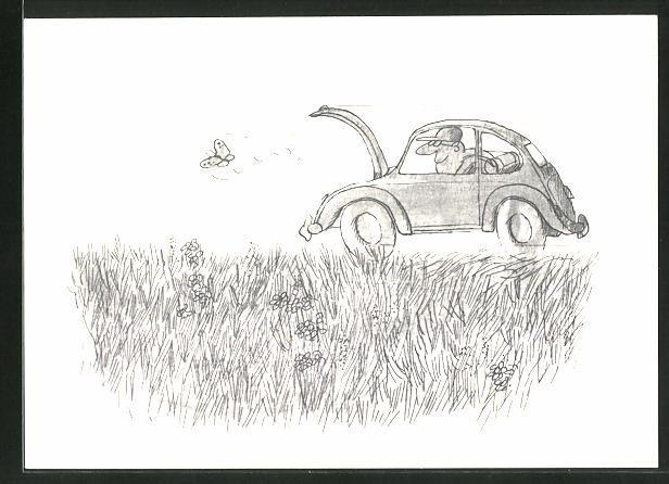 AK Auto VW Käfer jagt einen Schmetterling mit offenen Kofferraum