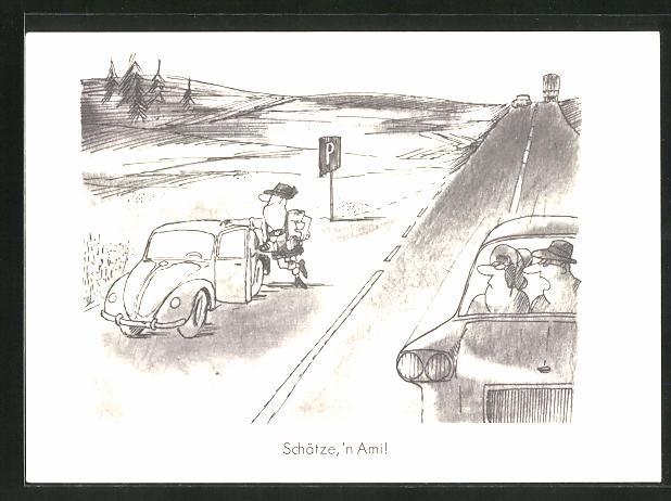 AK Schätze, 'n Ami!, Mann steht mit seinem Auto auf einem Parkplatz an der Autobahn