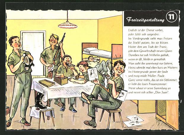 AK Bundeswehr-Freizeitgestaltung 11: Soldaten im Feierabend beim Stiefel & Gewehr putzen