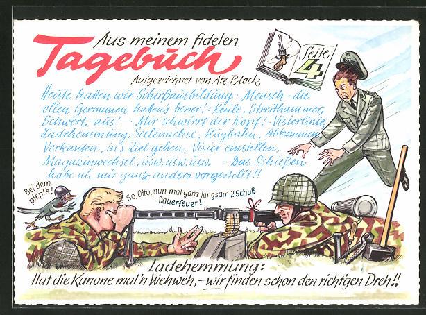 AK Aus meinem fidelen Tagebuch, Seite 4, Ladehemmung: Hat die Kanone mal'n Wehweh..., Bundeswehr