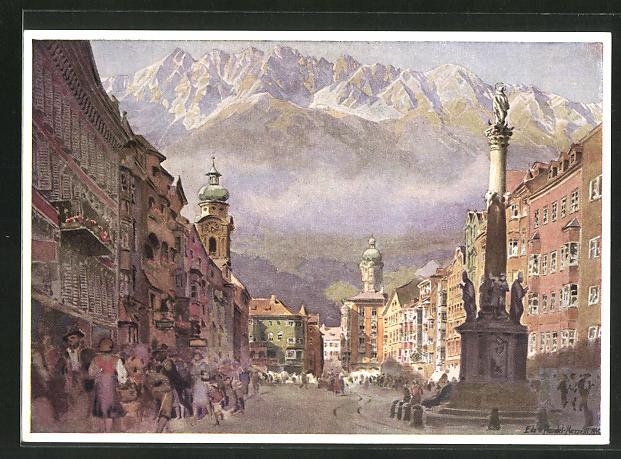 Künstler-AK Edo v. Handel-Mazzetti: Maria-Theresien-Strasse mit Nordkette