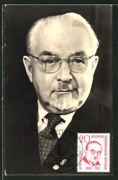 Maximum-AK DDR-Propaganda, Bildnis Otto Nuschkes, stellvertretender Ministerpräsident
