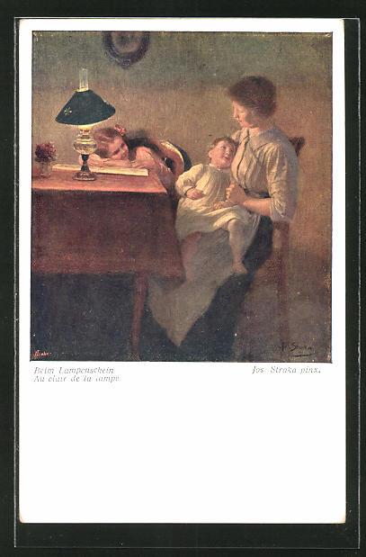 Künstler-AK Josef Straka: Mutter mit Kinder im Lampenschein am Tisch sitzend