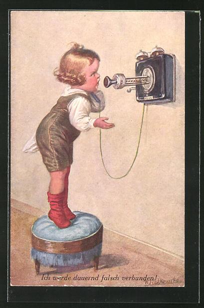 Künstler-AK Wally Fialkowska: Wütender Knabe am Telefon