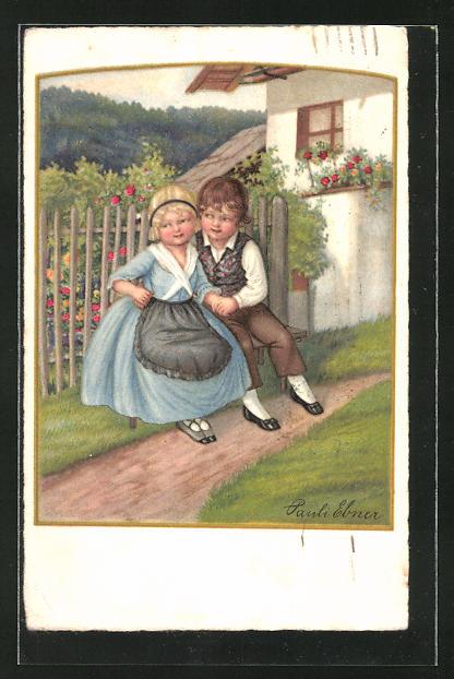 Künstler-AK Pauli Ebner: Kinder sitzen vor dem Garten
