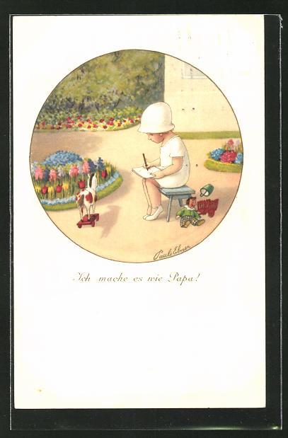 Künstler-AK Pauli Ebner: Kleines Mädchen malt ein Bild