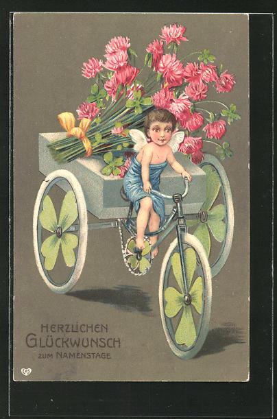 AK Kleiner Engel bringt Blumen mit einem Fahrrad