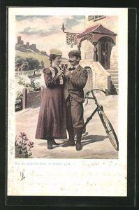 AK Mann und Frau mit Fahrrad vor einer Weinstube