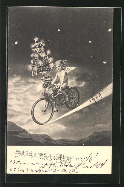 AK Engel kommt mit Fahrrad vom Himmel herab