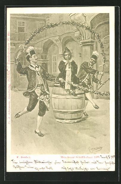 Künstler-AK Franz Doubek: Münchner Schäfflertanz 1900