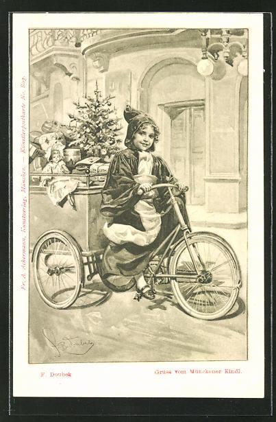 Künstler-AK Franz Doubek: Münchner Kindl bringt Geschenke mit dem Fahrrad