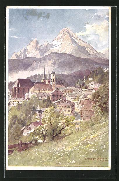 Künstler-AK Edward Harrison Compton: Ausblick auf Berchtesgaden