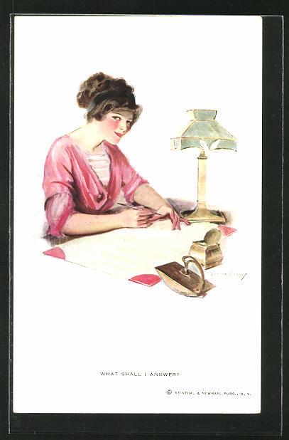 Künstler-AK F. Earl Christy: Frau schreibt einen Brief