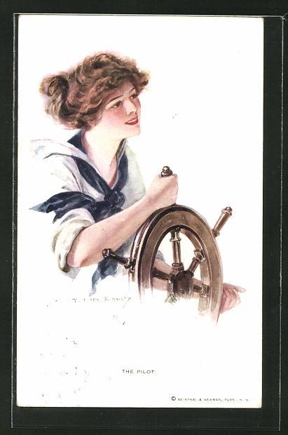 Künstler-AK F. Earl Christy: Junge Frau am Steuerrad