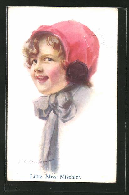 Künstler-AK Court Barber: Kleines Mädchen mit roter Kappe