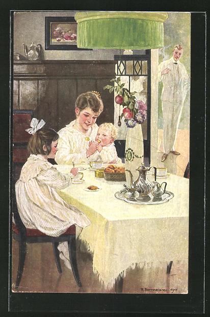 Künstler-AK R. Borrmeister: Mutter mit Kinder beim Frühstück