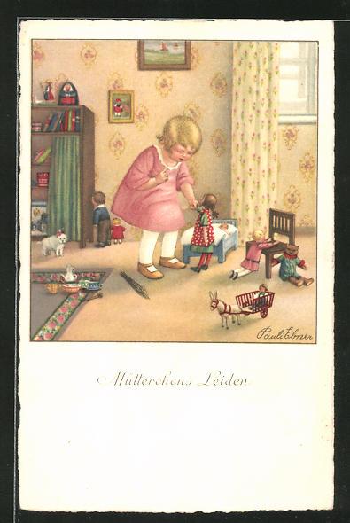 Künstler-AK Pauli Ebner: Mädchen spielt mit Puppen