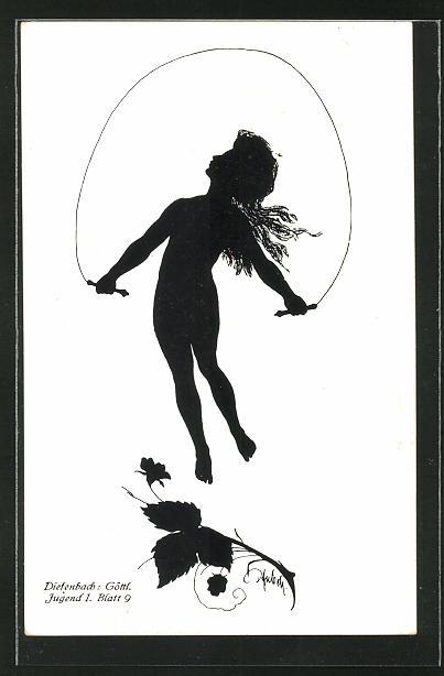 Künstler-AK Diefenbach: Mädchen beim Seilspringen