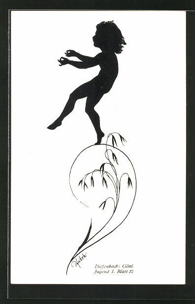 Künstler-AK Diefenbach: Knabe über eine Planze tänzelnd
