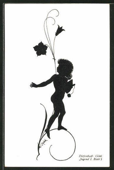 Künstler-AK Diefenbach: Knabe unter einer Pflanzenblüte