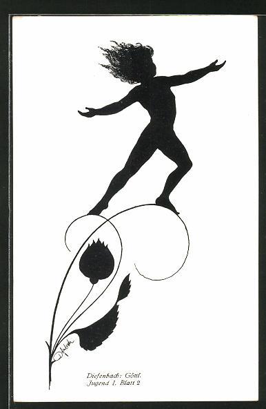 Künstler-AK Diefenbach: Knabe über eine Pflanze schwebend