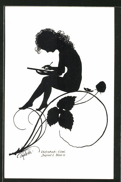 Künstler-AK Diefenbach: Knabe schreibt auf einer Tafel