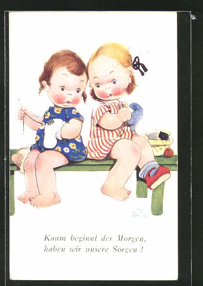 Künstler-AK Mabel Lucie Attwell: Kleine Mädchen stopfen Socken