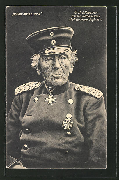 AK Bildnis des Heerführers Generalfeldmarschall von Haeseler, Chef des Ulanen-Rgts. No. 11