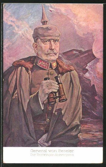 AK Bildnis des Heerführers General von Beseler mit Pickelhaube