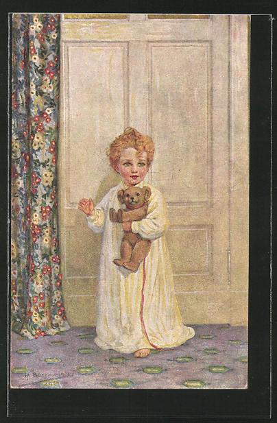 Künstler-AK R. Borrmeister: Kleines Mädchen mit Teddybär
