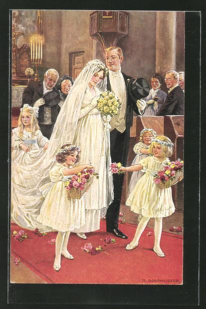 Künstler-AK R. Borrmeister: Hochzeitspaar schreitet zum Altar