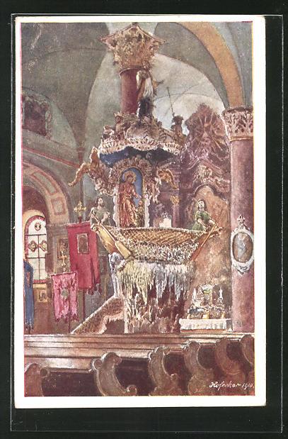 Künstler-AK E.F. Hofecker: Traunkirchen, Inneres der Kirche