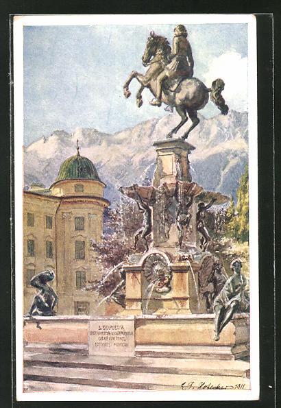 Künstler-AK E.F. Hofecker: Innsbruck, Leopoldsbrunnen mit Hofburg